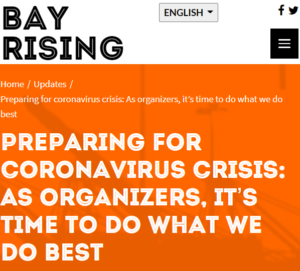 Preparing for Coronavirus Crisis: As Organizers, it's time to do what we do best