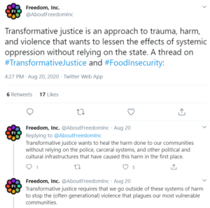A Thread on #TransformativeJustice and #FoodInsecurity