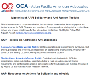 Masterlist of AAPI Solidarity and Anti-Racism Toolkits