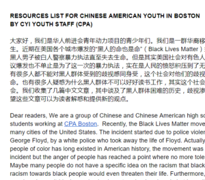 Resources List for Chinese American Youth in Boston