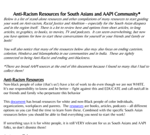 Anti-Racism Resources for South Asians and AAPI Community