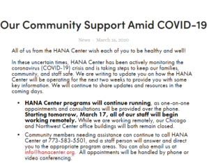 Our Community Support Amid COVID-19 - HANA Center