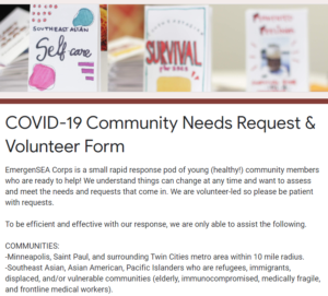 COVID-19 Community Needs Request & Volunteer Form