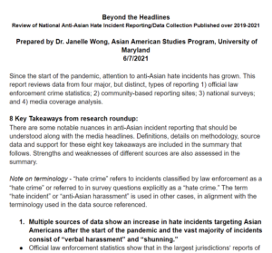 Beyond the Headlines: Review of National Anti-Asian Hate Incident Reporting/Data Collection Published over 2019-2021